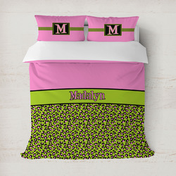 Pink & Lime Green Leopard Duvet Cover (Personalized)