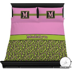 Pink & Lime Green Leopard Duvet Cover Set (Personalized)