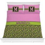 Pink & Lime Green Leopard Comforters (Personalized)