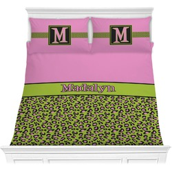 Pink & Lime Green Leopard Comforter Set (Personalized)