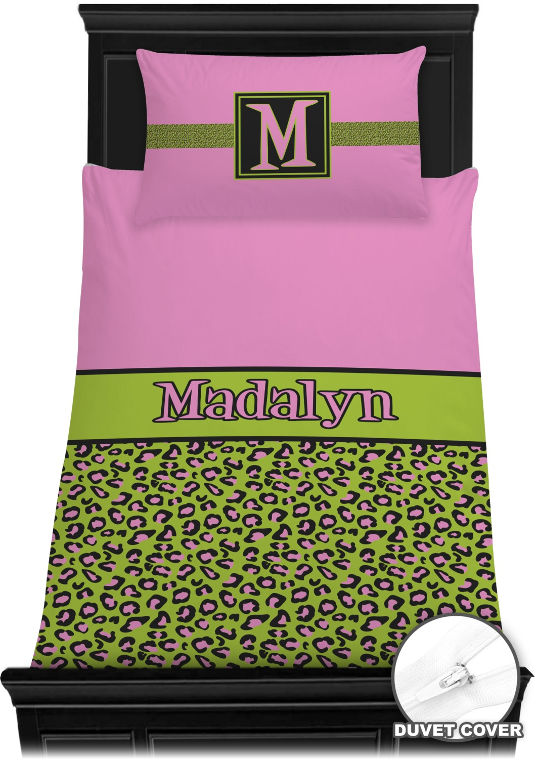 Pink Amp Lime Green Leopard Duvet Cover Set Twin