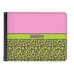 Pink & Lime Green Leopard Genuine Leather Men's Bi-fold Wallet (Personalized)