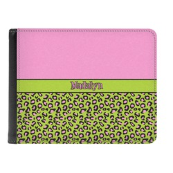 Pink & Lime Green Leopard Genuine Leather Men's Bi-fold Wallet (Personalized)