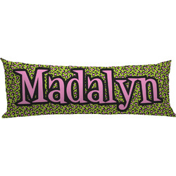 Pink & Lime Green Leopard Body Pillow Case (Personalized)