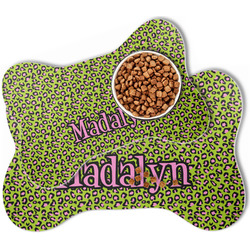 Pink & Lime Green Leopard Bone Shaped Dog Food Mat (Personalized)