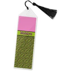 Pink & Lime Green Leopard Book Mark w/Tassel (Personalized)