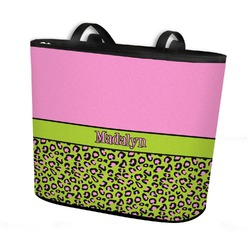 Pink & Lime Green Leopard Bucket Tote w/ Genuine Leather Trim (Personalized)