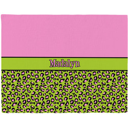 Pink & Lime Green Leopard Placemat (Fabric) (Personalized)