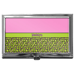 Pink & Lime Green Leopard Business Card Case