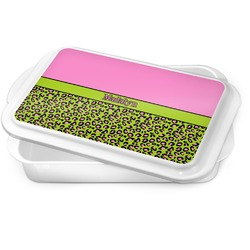 Pink & Lime Green Leopard Cake Pan (Personalized)