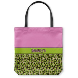 Pink & Lime Green Leopard Canvas Tote Bag (Personalized)