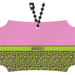 Pink & Lime Green Leopard Rear View Mirror Ornament (Personalized)
