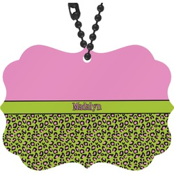 Pink & Lime Green Leopard Rear View Mirror Charm (Personalized)