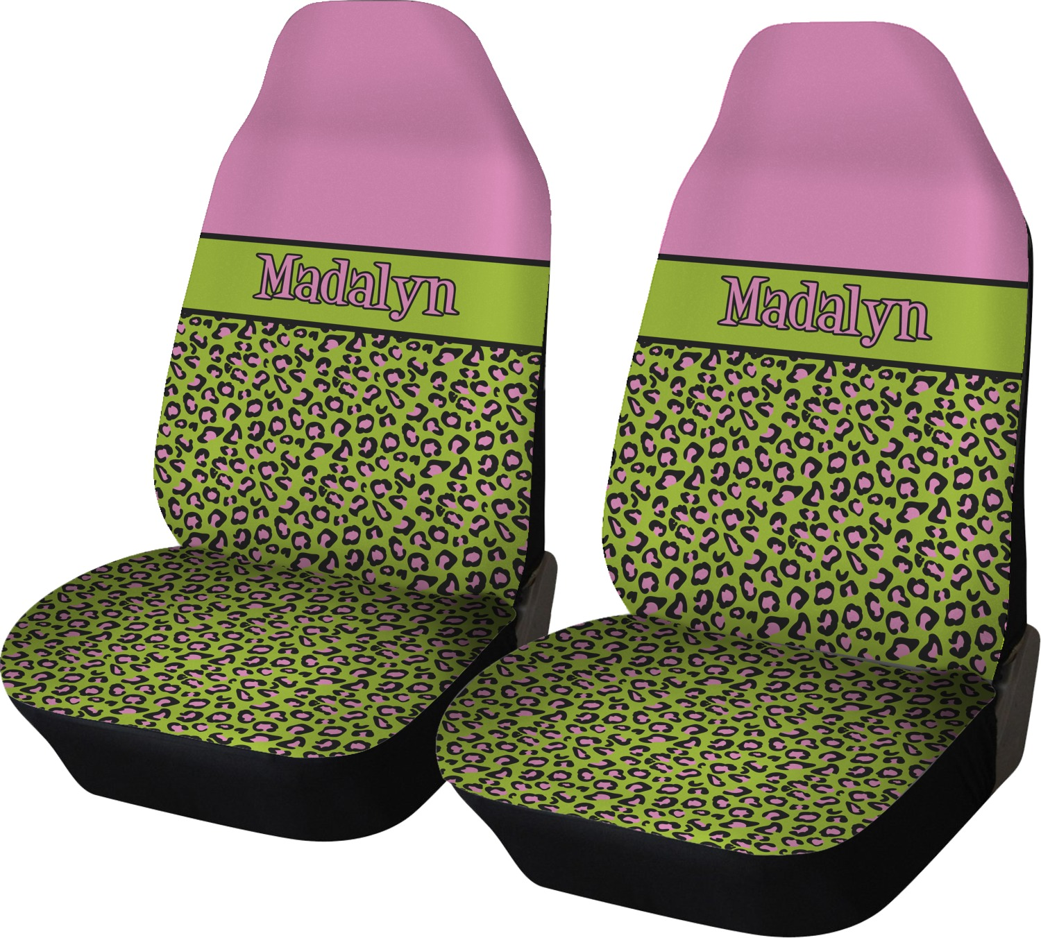 Pink Lime Green Leopard Car Seat Covers Set Of Two Personalized