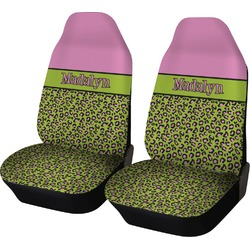 Pink & Lime Green Leopard Car Seat Covers (Set of Two) (Personalized)