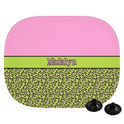 Pink & Lime Green Leopard Car Side Window Sun Shade (Personalized)