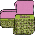Pink & Lime Green Leopard Car Floor Mats Set - 2 Front & 2 Back (Personalized)