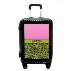 Pink & Lime Green Leopard Carry On Hard Shell Suitcase (Personalized)