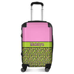 Pink & Lime Green Leopard Suitcase (Personalized)