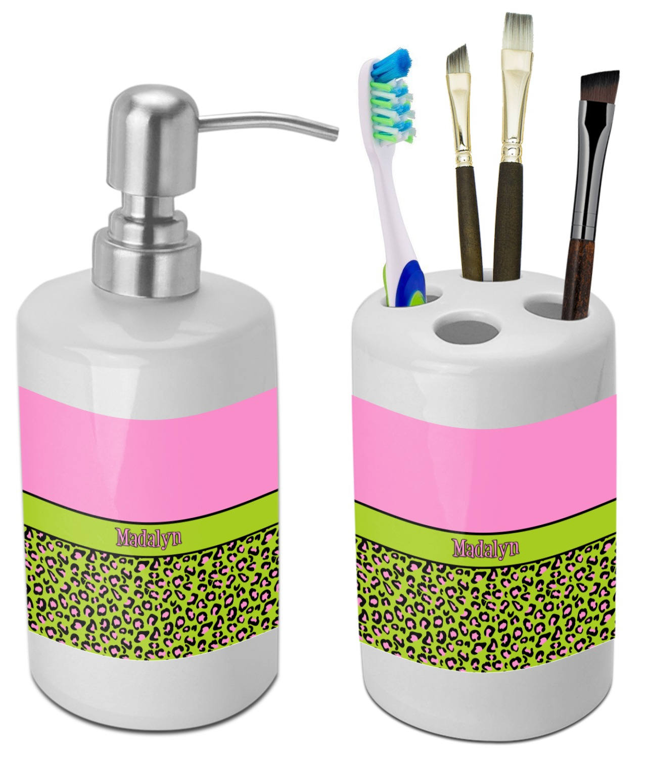 Pink & Lime Green Leopard Bathroom Accessories Set (Ceramic ...