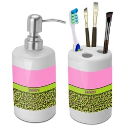 Pink & Lime Green Leopard Bathroom Accessories Set (Ceramic) (Personalized)