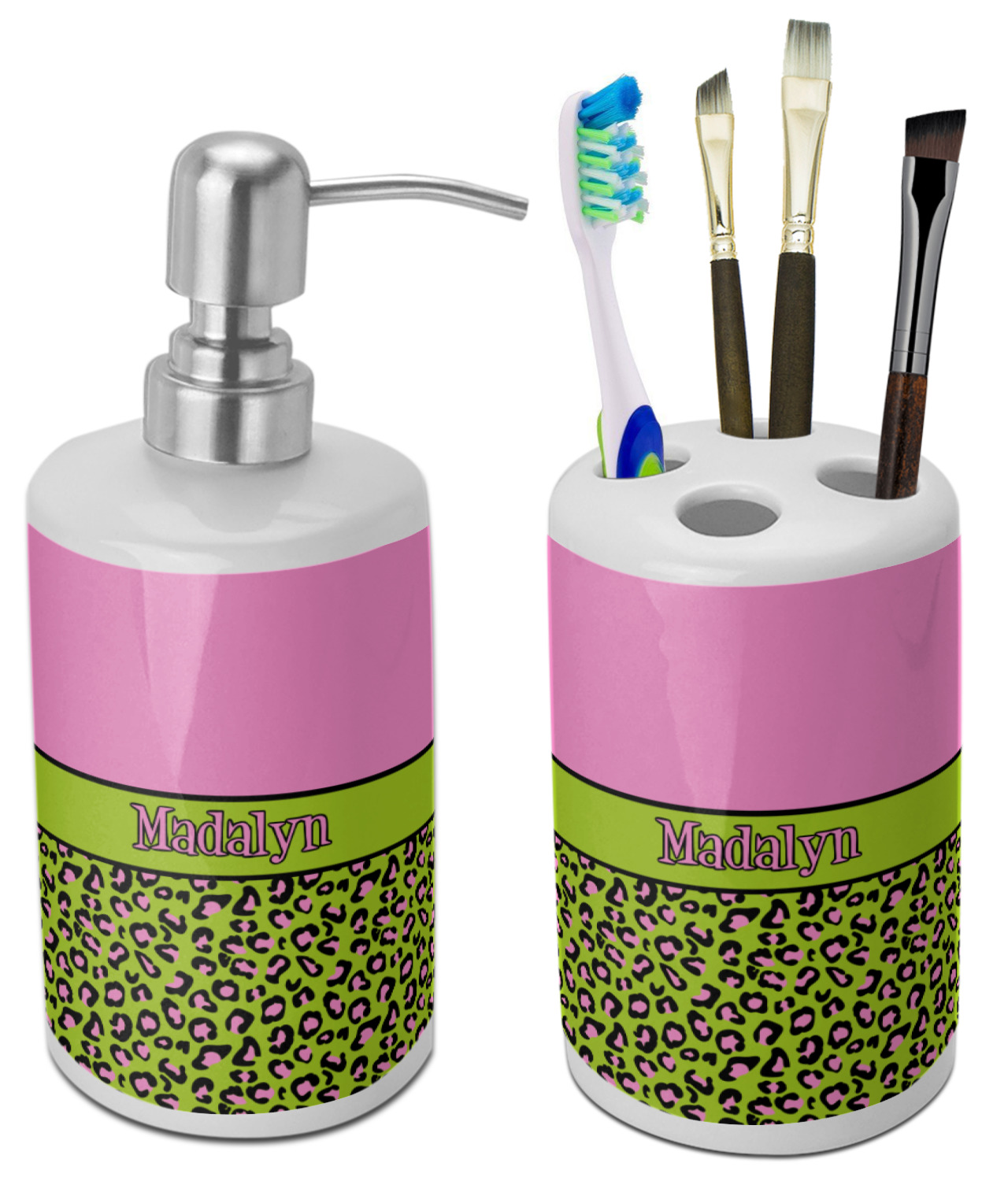 Pink U0026 Lime Green Leopard Bathroom Accessories Set (Ceramic) (Personalized)