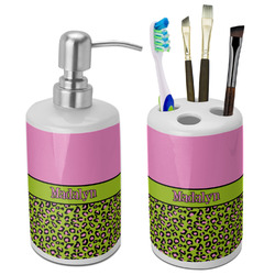 Pink & Lime Green Leopard Ceramic Bathroom Accessories Set (Personalized)