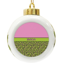 Pink & Lime Green Leopard Ceramic Ball Ornament (Personalized)
