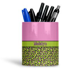 Pink & Lime Green Leopard Ceramic Pen Holder