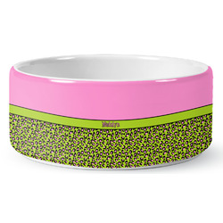 Pink & Lime Green Leopard Ceramic Dog Bowl (Personalized)