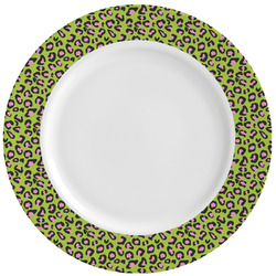 Pink & Lime Green Leopard Ceramic Dinner Plates (Set of 4) (Personalized)