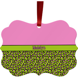 Pink & Lime Green Leopard Ornament (Personalized)
