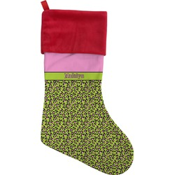 Pink & Lime Green Leopard Christmas Stocking (Personalized)