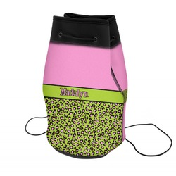 Pink & Lime Green Leopard Neoprene Drawstring Backpack (Personalized)