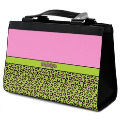Pink & Lime Green Leopard Classic Tote Purse w/ Leather Trim w/ Name or Text