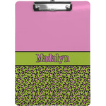 Pink & Lime Green Leopard Clipboard (Personalized)