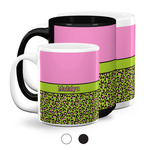 Pink & Lime Green Leopard Coffee Mugs (Personalized)
