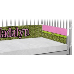 Pink & Lime Green Leopard Crib Bumper Pads (Personalized)
