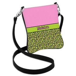Pink & Lime Green Leopard Cross Body Bag - 2 Sizes (Personalized)
