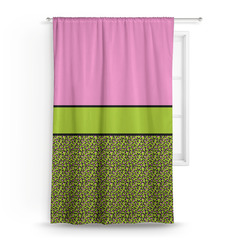 Pink & Lime Green Leopard Curtain (Personalized)