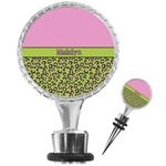 Pink & Lime Green Leopard Wine Bottle Stopper (Personalized)