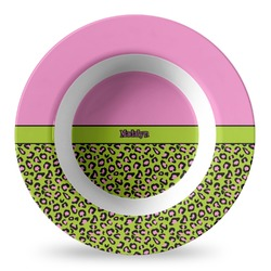 Pink & Lime Green Leopard Plastic Bowl - Microwave Safe - Composite Polymer (Personalized)
