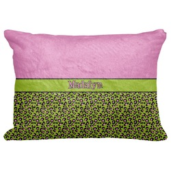 "Pink & Lime Green Leopard Decorative Baby Pillowcase - 16""x12"" (Personalized)"