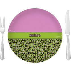 "Pink & Lime Green Leopard Glass Lunch / Dinner Plates 10"" - Single or Set (Personalized)"