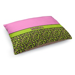 Pink & Lime Green Leopard Dog Bed (Personalized)