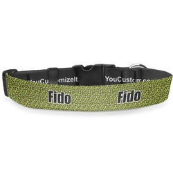 Pink & Lime Green Leopard Deluxe Dog Collar (Personalized)