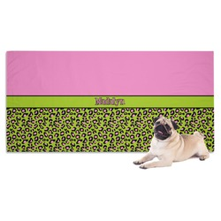Pink & Lime Green Leopard Pet Towel (Personalized)