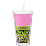 Pink & Lime Green Leopard Double Wall Tumbler with Straw (Personalized)