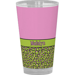 Pink & Lime Green Leopard Drinking / Pint Glass (Personalized)