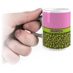Pink & Lime Green Leopard Espresso Cups (Personalized)